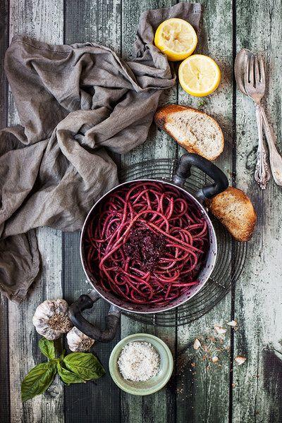 pasta with beetroot pesto.