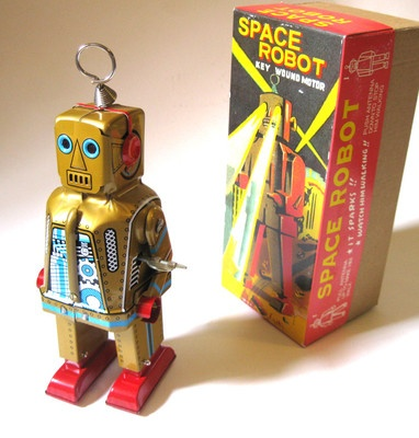 Space Robot Tin Windup Toy Gold Robot Retro Vintage