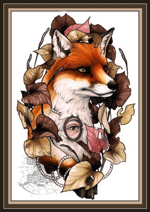fox tattoo done by berry stechwerk. I'd get it without the eye necklace