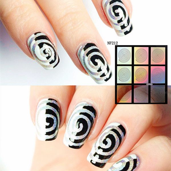 9 Tips/Sheet Swirl Nail Vinyls Laser Cyclone Nail Art Manicure Stencil Nail Art Stickers NF212 #23877
