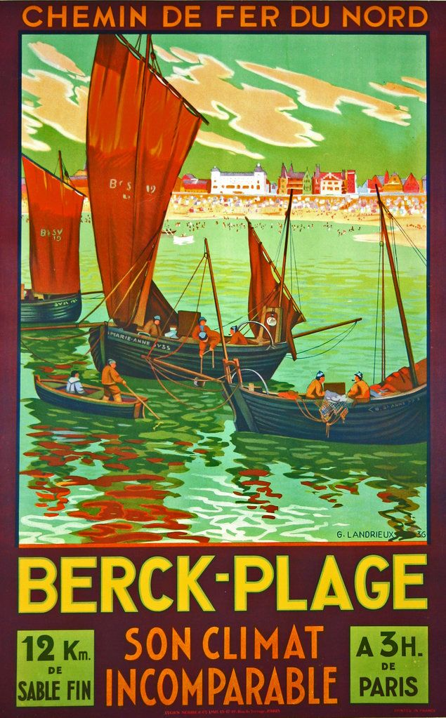 Berck Plage - France - 1936 - illustration de G Landrieux -