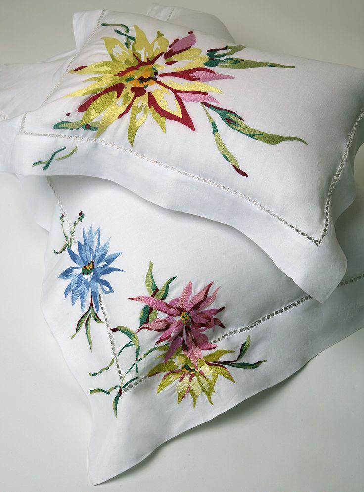 """""""Dahlias"""" hand-embroidered pillow shams by Maison Porthault, Paris. 5 rue du Boccador, 75008, Paris. www.dporthault.fr"""