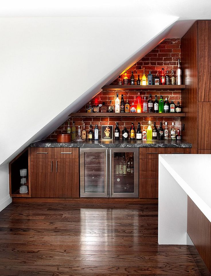 Transform the space under the stairs into a contemporary home bar