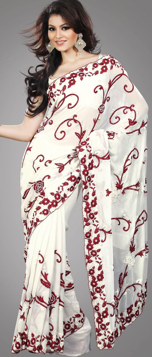 Off White Faux #Georgette #Saree With #Blouse @ $131.63