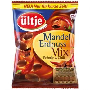 ültje Mandel-Erdnuss Mix Schoko & Chili Limited Edition: geröstete Mandeln und Erdnüsse mit pikanter Chili-Würzung und Überzug aus Milchschokolade. UTZ CERTIFIED.