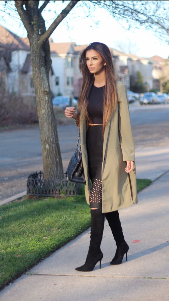 Faryal Makhdoom Khan - OOTD: Olive Overcoat & Cut Work Skirt