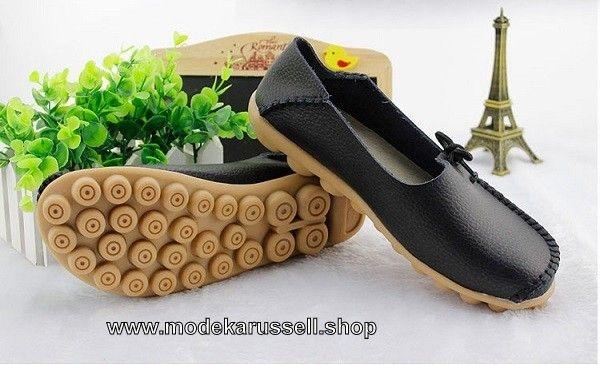 Weiche Leder Schuhe Mokassins für Damen in Schwarz