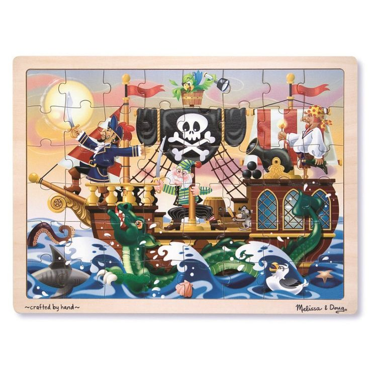 Pirate Puzzle   Sailing over the ocean, comes this pirate ship, where even the mouse is ready for adventure. Discovering all the fun details in this picture will be an adventure for the assembler!
