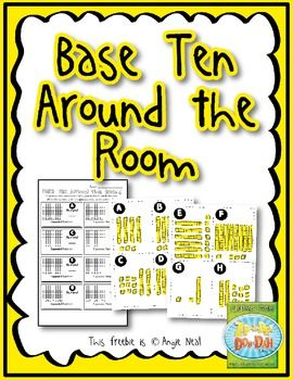 Base Ten Around the Room - FREEBIE!... Math, Numbers, Place Value  Kindergarten, 1st, 2nd Activities, Fun Stuff, Printable...Grab this fun activity to help your students practice Base Ten! Simply cut out and hang the cards around the classroom. Students will use their recording sheet to travel around the room and doing the following on their recording sheet: