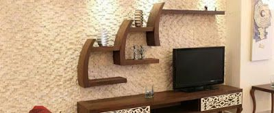 25 TV UNIT DECORATION WITH STONE WALL