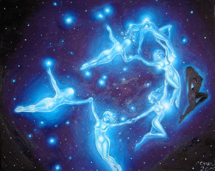 The Pleiades were seven sisters created by the Titan Atlas and his mate Pleione, the daughter of the Titan Oceanus. They were goddesses of the mountains and the companions of Artemis, goddess of the hunt. Their names were Maea, Electra, Taygete, Alcyone, Celaino, Sterope and Merope.