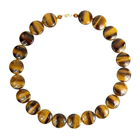 Tigers Eye Stone Disc Beaded Necklace with 14K gold clasp, signed Gold Stone Jewelry Corp #etsy #claraschicboutique #ecochic