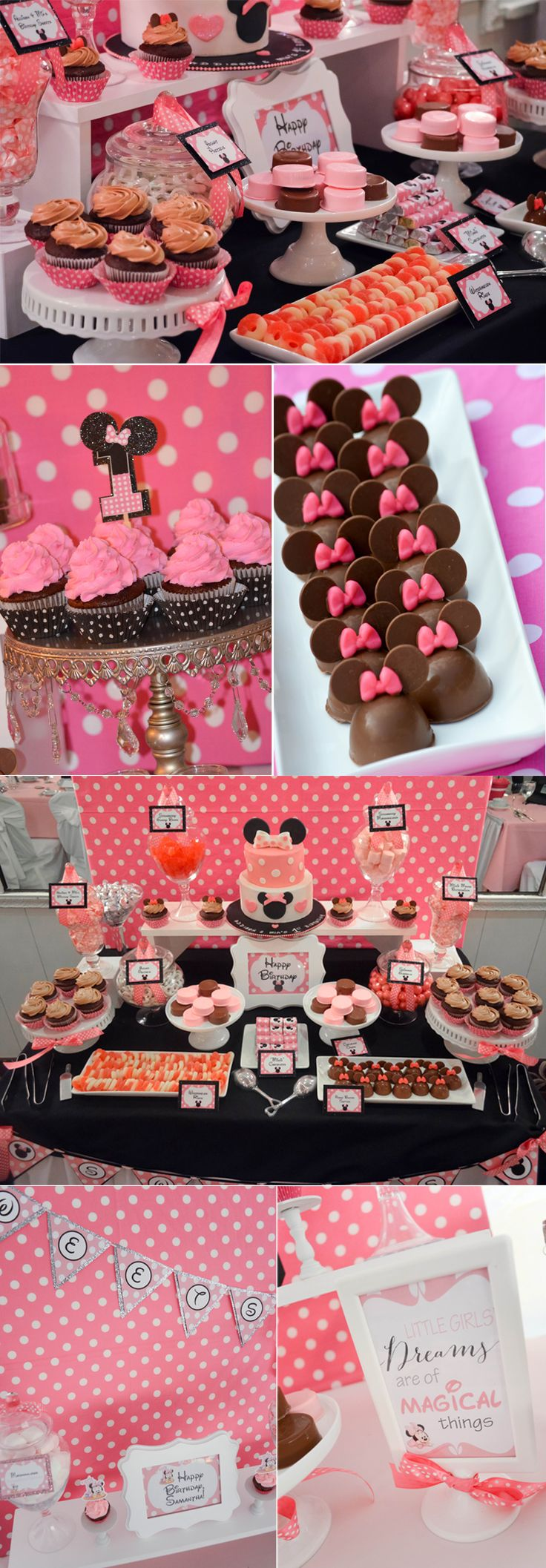 minnie mouse dessert tables and candy tables brithday party ideas cake cucpakes cake pops by www