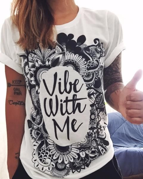 """Vibe with Me"" Crew-Neck! Life changing hand drawn art by the infamous Emily…"