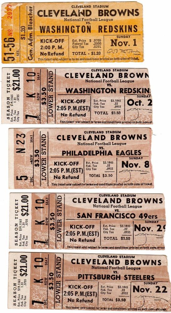 1950s CLEVELAND BROWNS TICKET STUBS - PICK ONE - REDSKINS STEELERS EAGLES      #TicketStub