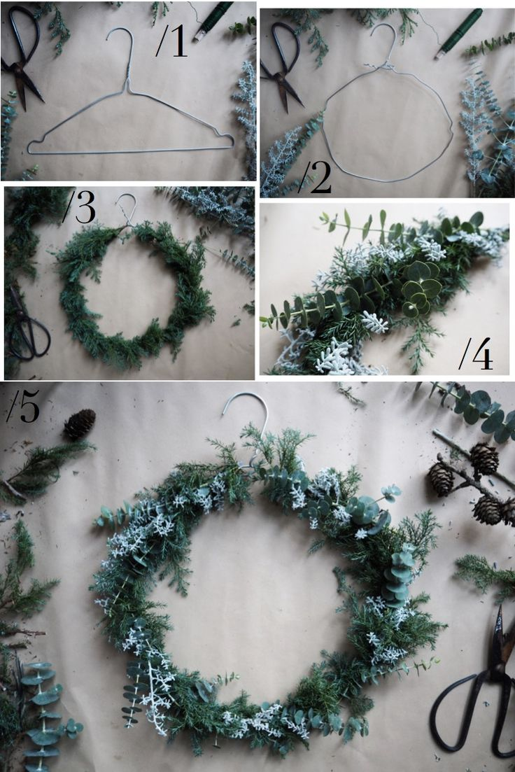 DIY: CHRISTMAS WREATH OF WIRE HANGER