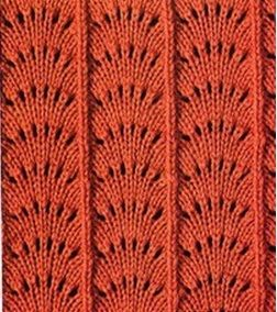 "#knitting-stitch - ""Beautiful variant of Feather & Fan stitch. There are several others on the page with charts. Many other charted knitting stitches on this Russian site."" comment via #KnittingGuru"
