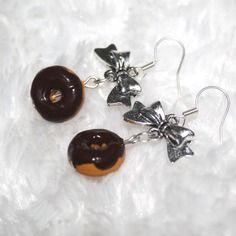 Boucles d'oreille argentées donut's en fimo