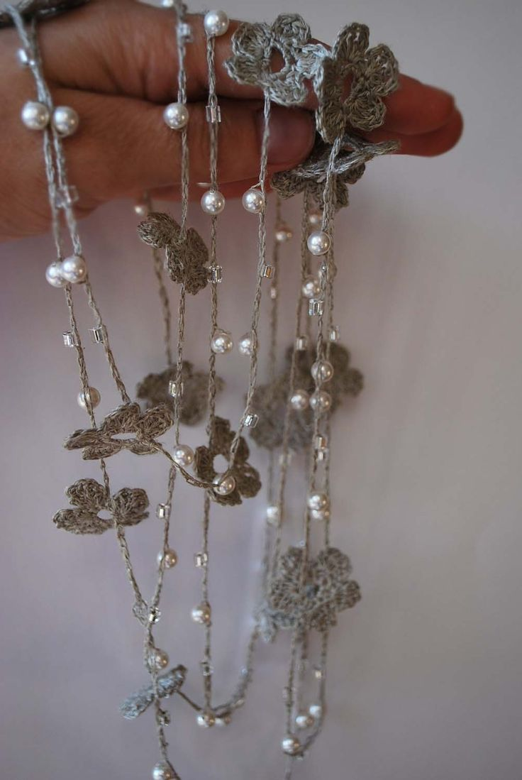 Linen Crocheted Lariat- Necklace