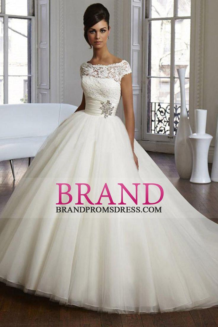 2017 Bateau Wedding Dress Ball Gown Organza