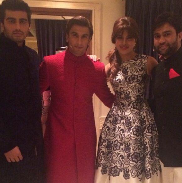 The boys, Ranveer Singh, Arjun Kapoor and Ali Abbas Zafar With priyanka chopra.  #Gunday Film