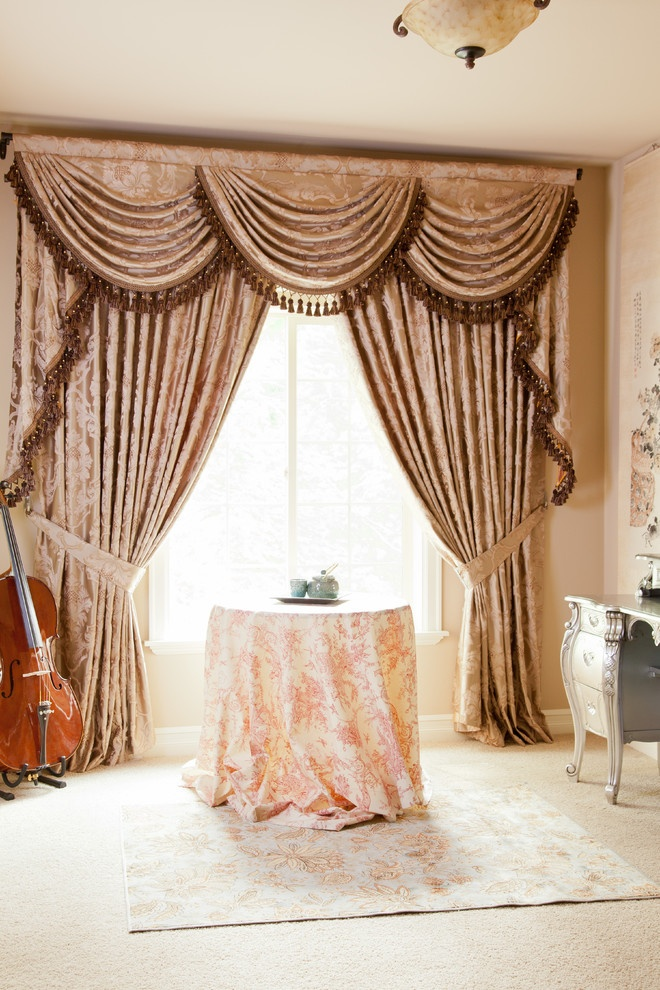 Baroque Floral Valance Curtains With Swags And Tails