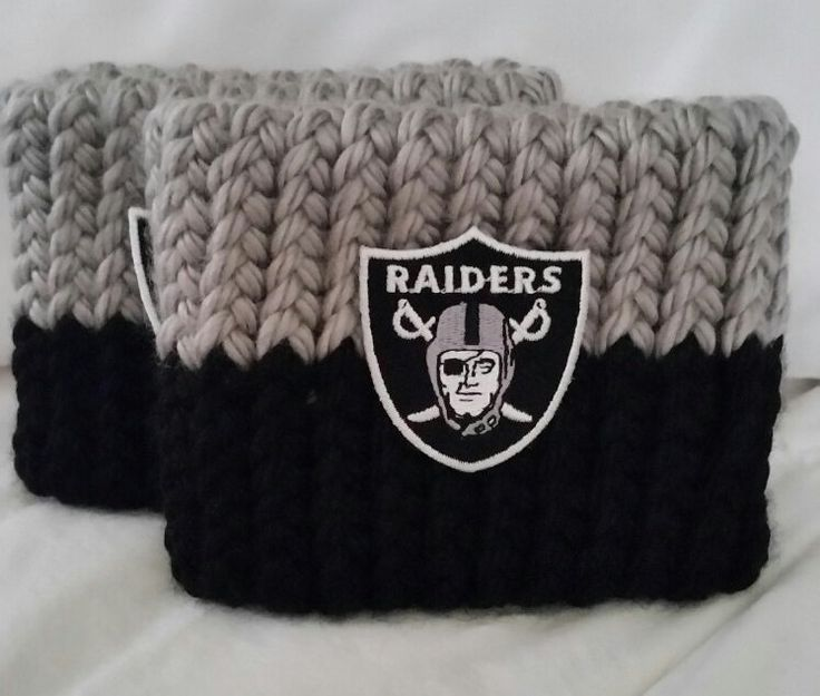 Oakland Football Bootcuffs hand double knit w/ embroidered team patch, Free Ship in US sport wear, fan gear, football lover, gift, athletic by BrumbleBerryBoutique on Etsy