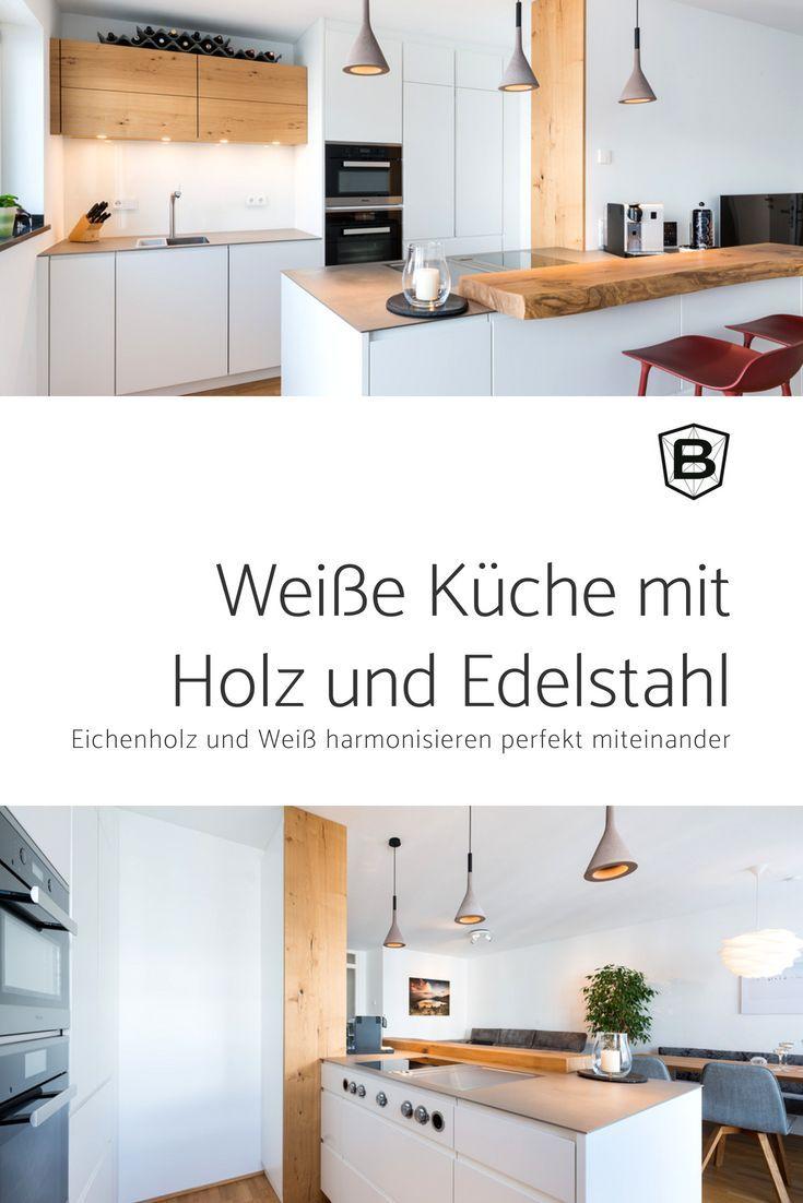 #weißeküche #weiß #holz #edelstahl #küche #mie…