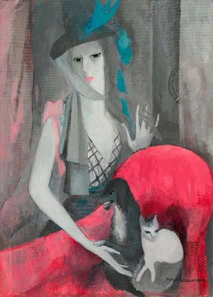 Marie Laurencin (1883-1956), 1916, Femme au chien et au chat, oil on canvas.
