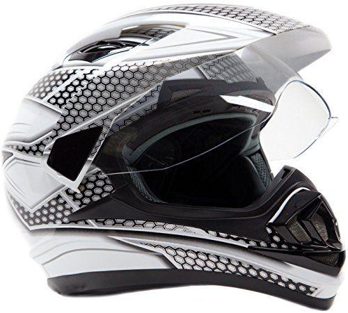 Dual Sport Helmet – Off Road Motocross UTV ATV Motorcycle Enduro – Black & Silver