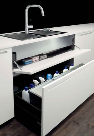 Pull out drawer for under sink area. Holds trash cans and cleaning stuff