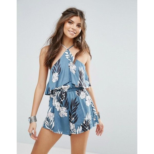 Somedays Lovin After The Storm Floral Festival Playsuit ($42) ❤ liked on Polyvore featuring jumpsuits, rompers, multi, floral rompers, ruffle romper, crochet romper, playsuit romper and blue romper