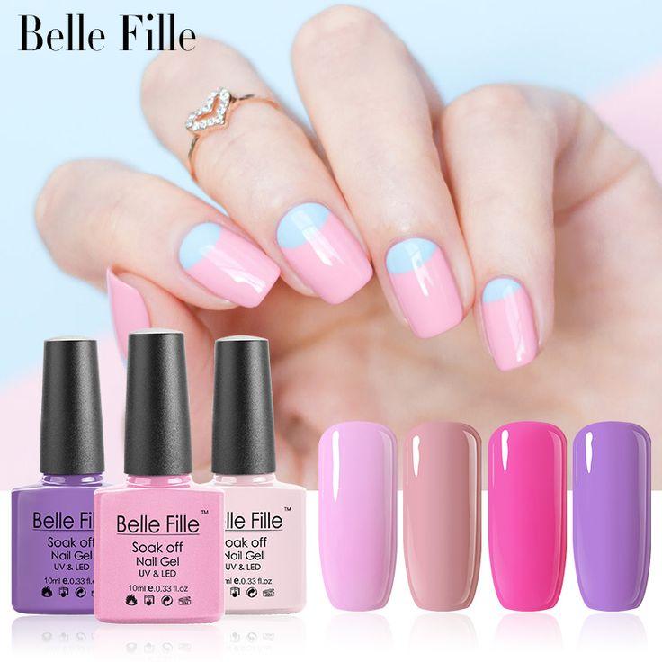 Belle Fille Rosa Gel UV Esmalte de Uñas de Gel UV LED de Color Rosa púrpura Laca de Uñas de Gel Esmalte de uñas Empapa del Barniz Brillante de Bling