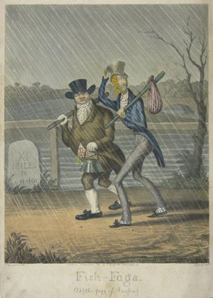 """Fish-Fags. """"Oh! the joys of Angling"""" by George Hunt after W. Summers"""