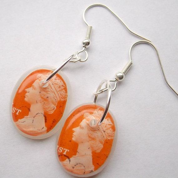 Orange Queen Elizabeth Stamp Earrings $13.00 #1andtwenty