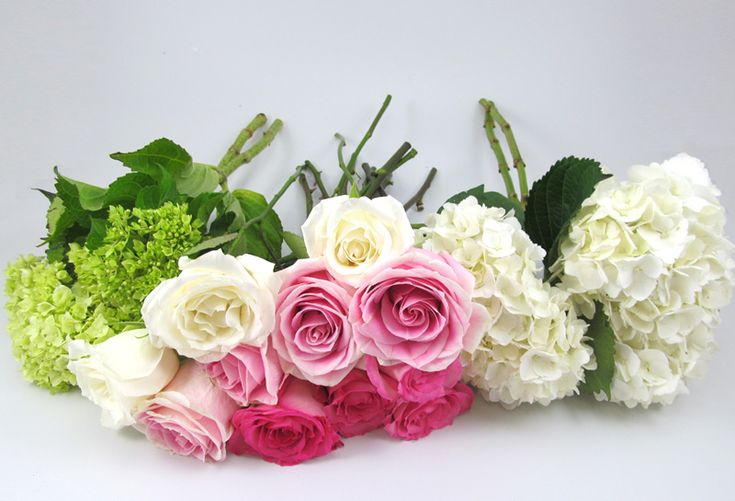 Do It Yourself Rose and Hydrangea Bouquet Tutorial. How to Make a classic wedding bouquet.