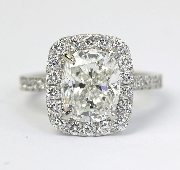 GIA diamond platinum engagement ring 3.0CT GVS2 cushion w/round brilliant halo #SolitairewithAccents