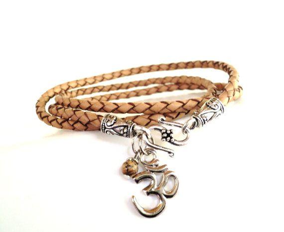 Namaste Leather Wrap Bracelet Braided Yoga by BohemianEarthDesigns, $36.95
