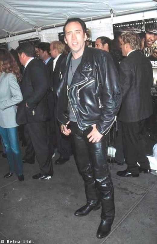 Nicolas Cage in a leather jacket | Leathery | Best leather ...