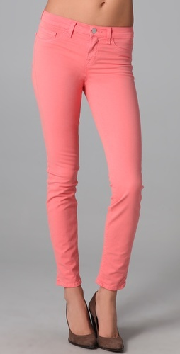 j brand '811 mid rise skinny jeans in coral'. If I could pull these off I would buy them in a heartbeat!