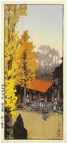 Icho in Autumn  by Hiroshi Yoshida, 1933
