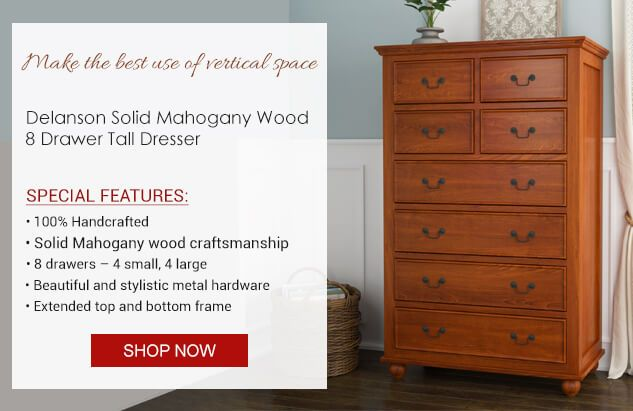 Delanson Solid Mahogany Wood Tall Bedroom Dresser With 8 Drawers Mahogany Wood Solid Mahogany Contrast Interior Design