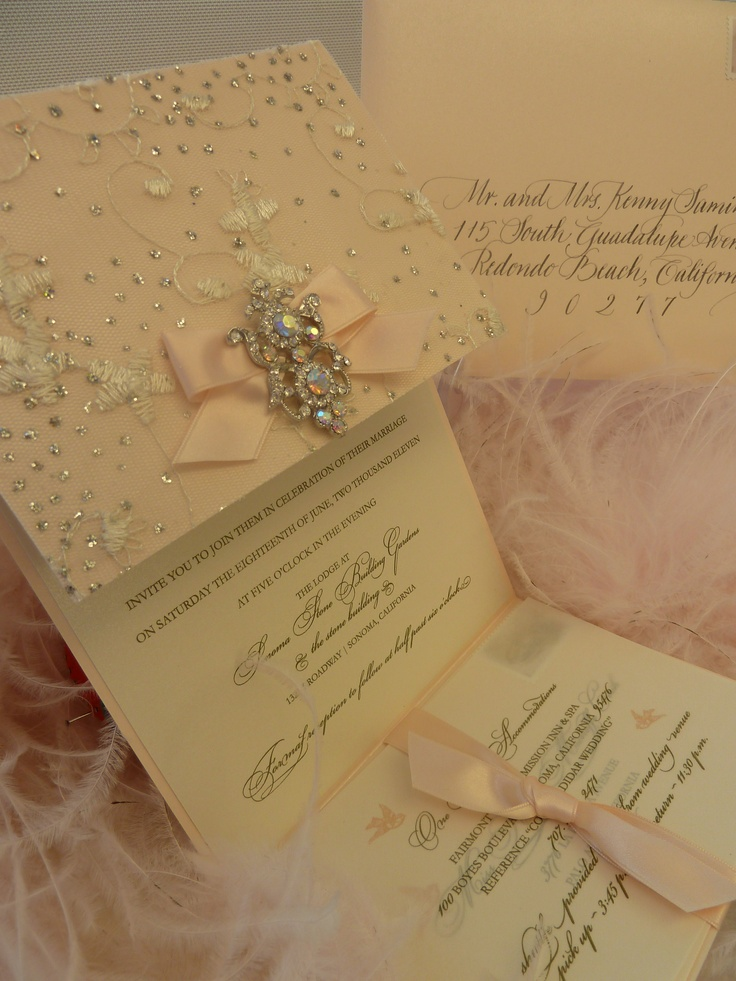 """Sparkle"" Wedding Invitation with elegant brooch xo Embellishments Invitations"