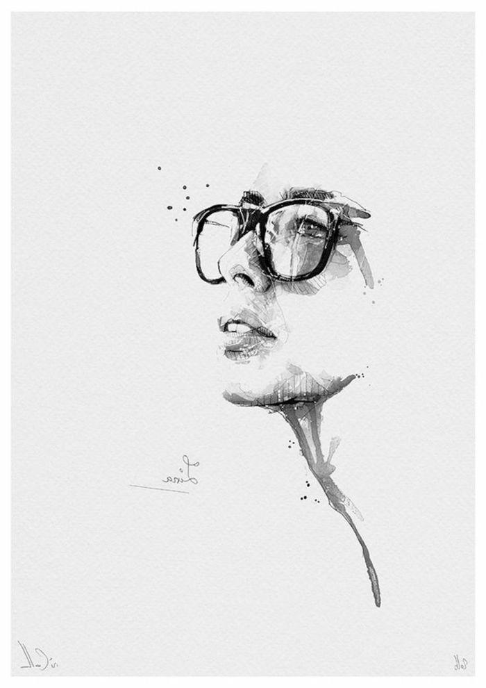Photo dessin filtre dessin dessin noir et blanc visage photo dessin jolie femme lunettes hipster