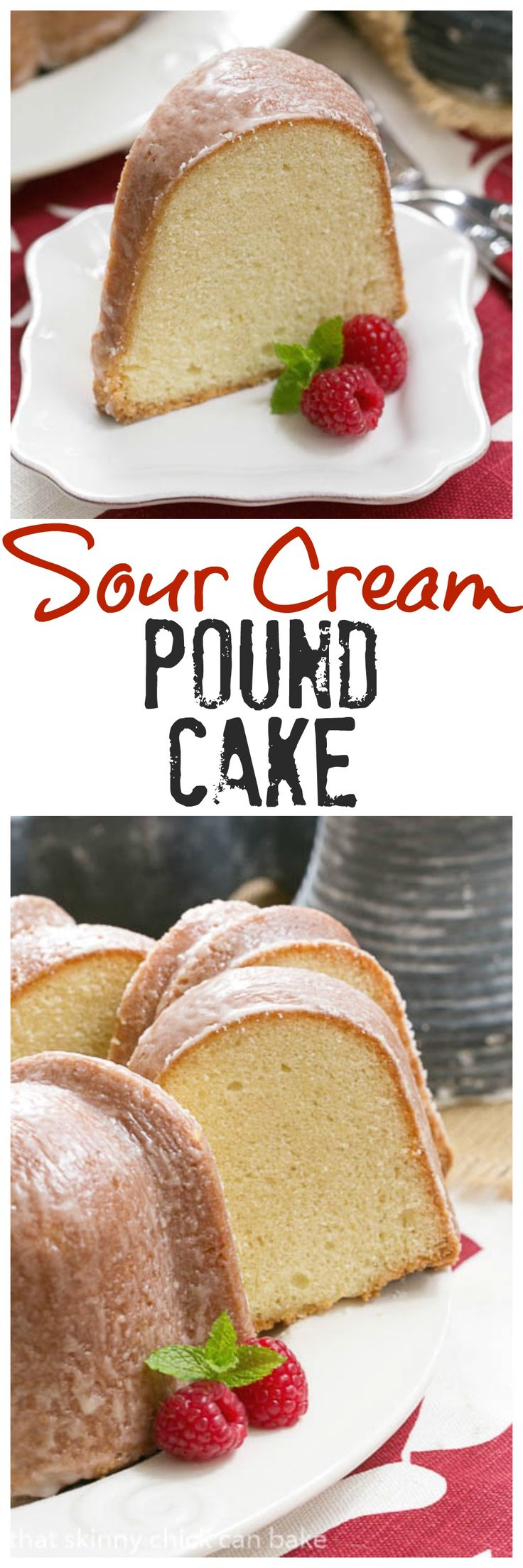 Sour Cream Pound Cake | Dense, delectable with a touch of vanilla and almond @lizzydo