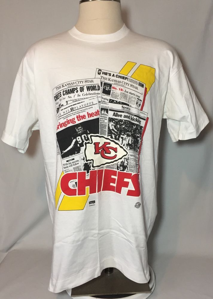 1994 Kansas City Chiefs Newspaper T-Shirt Neil Smith Joe Montana Vintage NWT XL #FrontPages #KansasCityChiefs