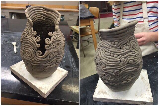 Ceramic coil vase, Seaman High School