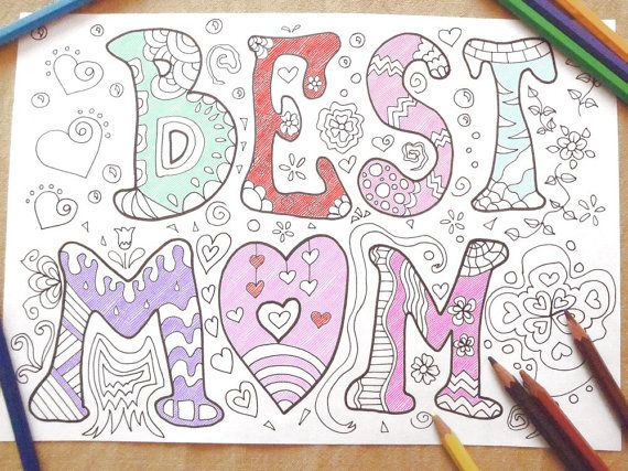 best mom coloring book mother's day page kids instant