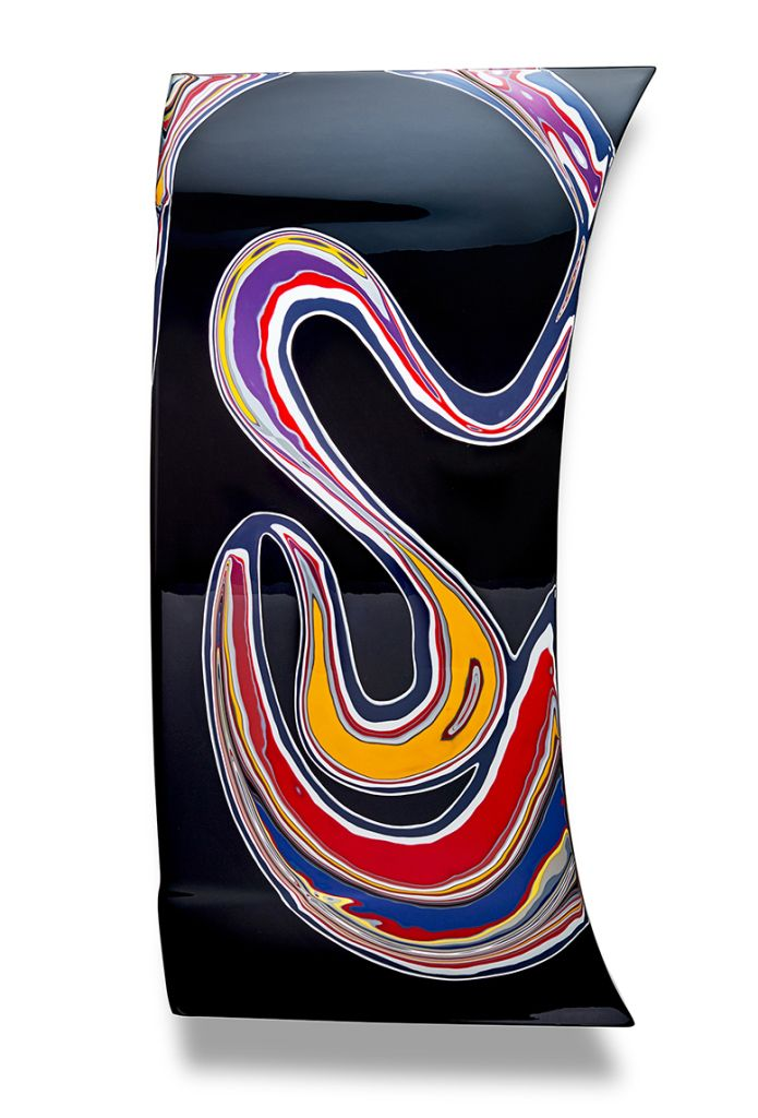 Memento Mori  A sculptural exploration by man and machine – an abstract dynamism of primary colours and whirling shapes. Steel boot lid | Mitsubishi Magna | Automotive paint +/- 50 layers 2015 | W 65 cm x H 120 cm x D 11 cm