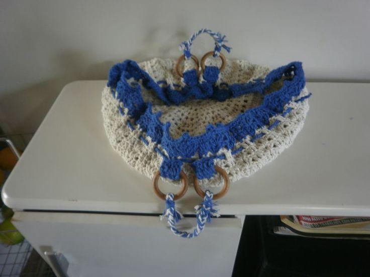 porta prato de croche azul
